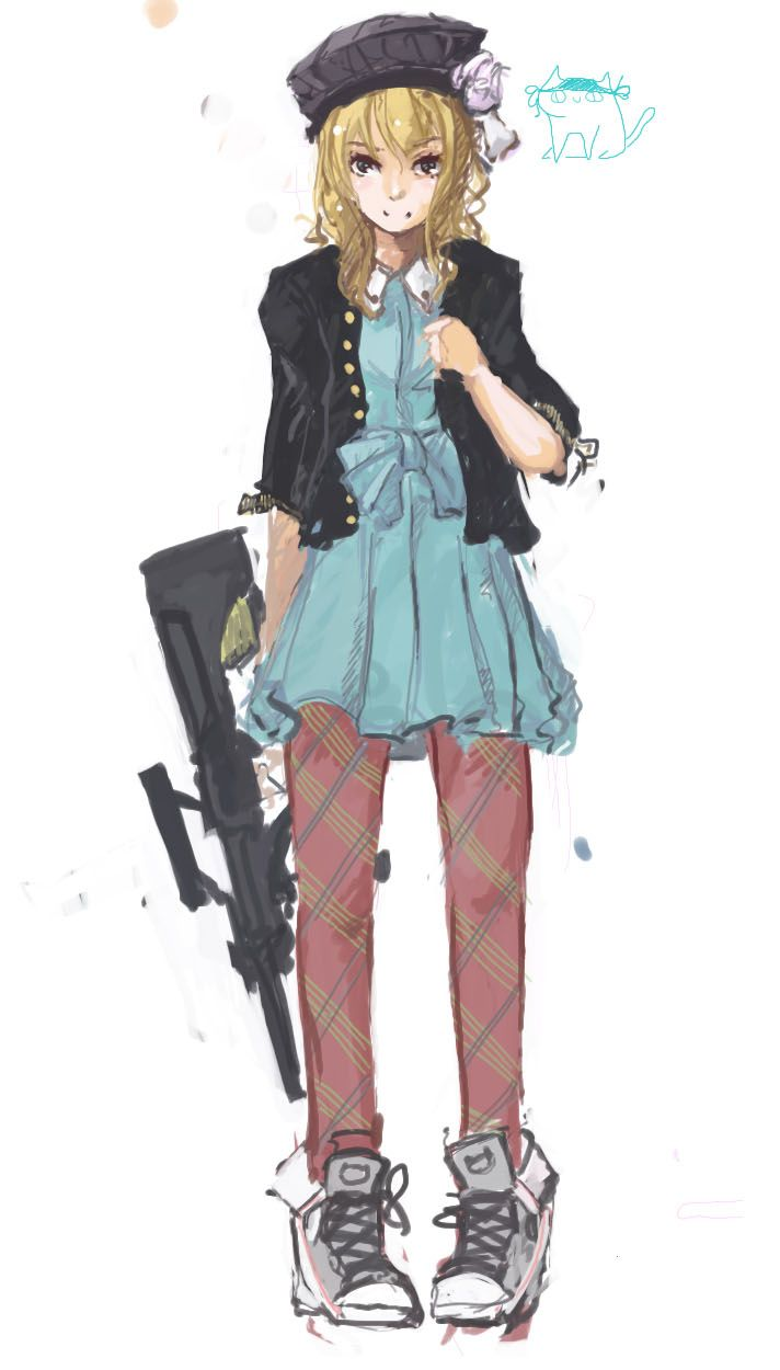 1girl amnesia (idea factory) assault rifle blonde hair bullpup dress ...
